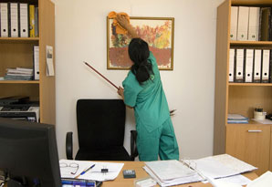 Office cleaner job description, duties, tasks, and responsibilities.